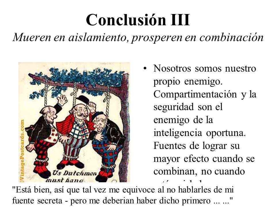 Conclusión III Mueren en aislamiento, prosperen en combinación Nosotros somos nuestro propio enemigo. Compartimentación y la seguridad son el enemigo