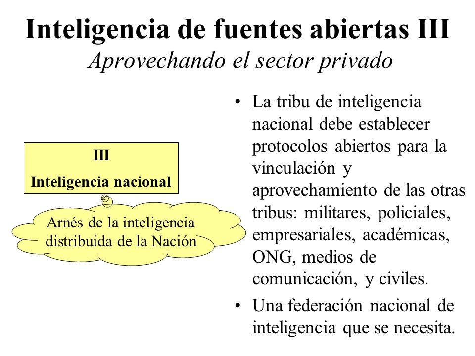 Inteligencia de fuentes abiertas III Aprovechando el sector privado Narrowly focused.