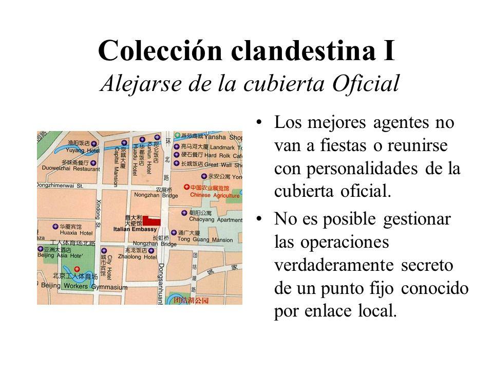 Colección clandestina I Alejarse de la cubierta Oficial Los mejores agentes no van a fiestas o reunirse con personalidades de la cubierta oficial.