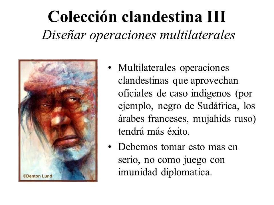 Colección clandestina III Diseñar operaciones multilaterales Multilaterales operaciones clandestinas que aprovechan oficiales de caso indigenos (por ejemplo, negro de Sudáfrica, los árabes franceses, mujahids ruso) tendrá más éxito.