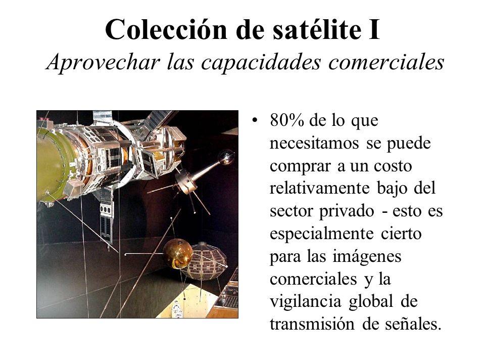 Colección de satélite I Aprovechar las capacidades comerciales 80% de lo que necesitamos se puede comprar a un costo relativamente bajo del sector privado - esto es especialmente cierto para las imágenes comerciales y la vigilancia global de transmisión de señales.