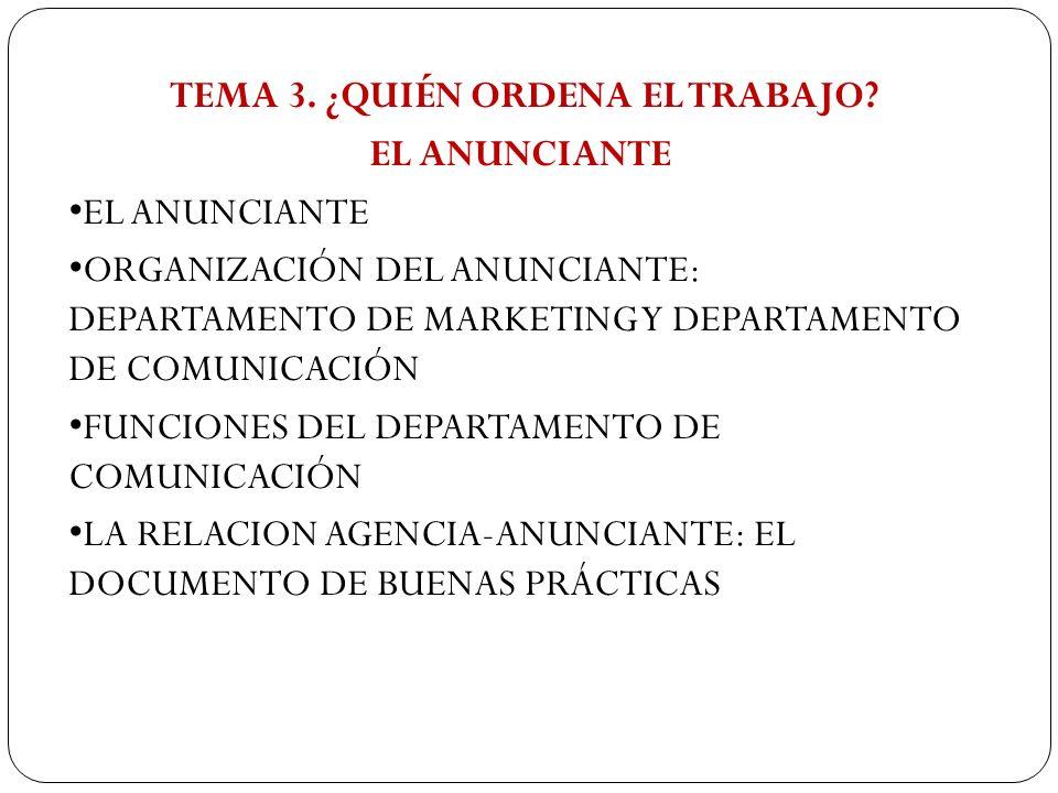 TEMA 3. ¿QUIÉN ORDENA EL TRABAJO? EL ANUNCIANTE ORGANIZACIÓN DEL ANUNCIANTE: DEPARTAMENTO DE MARKETING Y DEPARTAMENTO DE COMUNICACIÓN FUNCIONES DEL DE