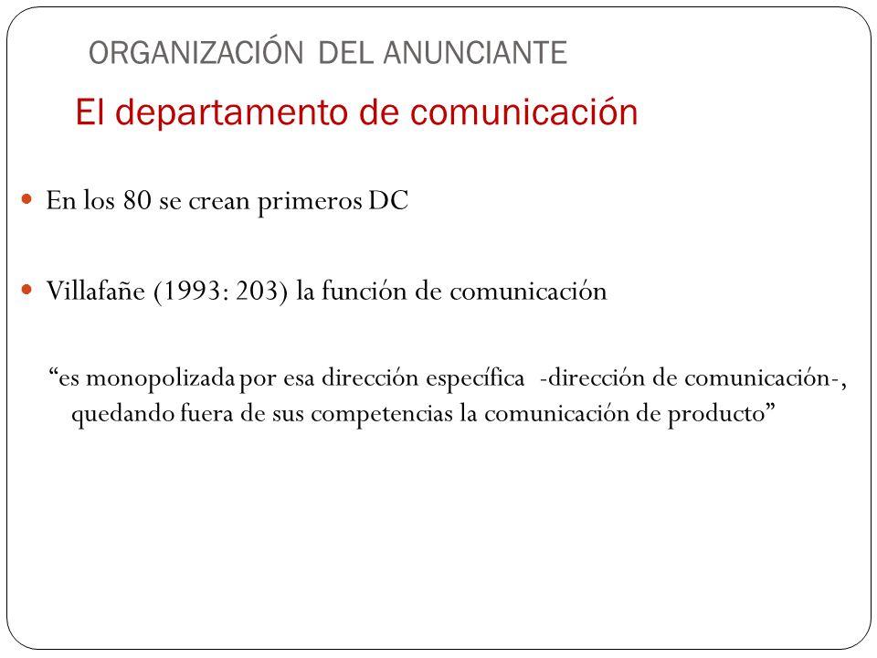 El departamento de comunicación En los 80 se crean primeros DC Villafañe (1993: 203) la función de comunicación es monopolizada por esa dirección espe