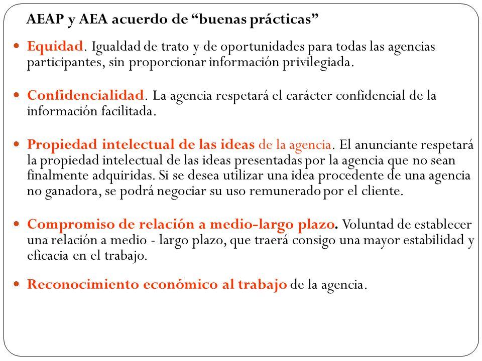 AEAP y AEA acuerdo de buenas prácticas Equidad. Igualdad de trato y de oportunidades para todas las agencias participantes, sin proporcionar informaci