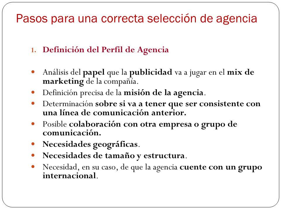 Pasos para una correcta selección de agencia 1. Definición del Perfil de Agencia Análisis del papel que la publicidad va a jugar en el mix de marketin