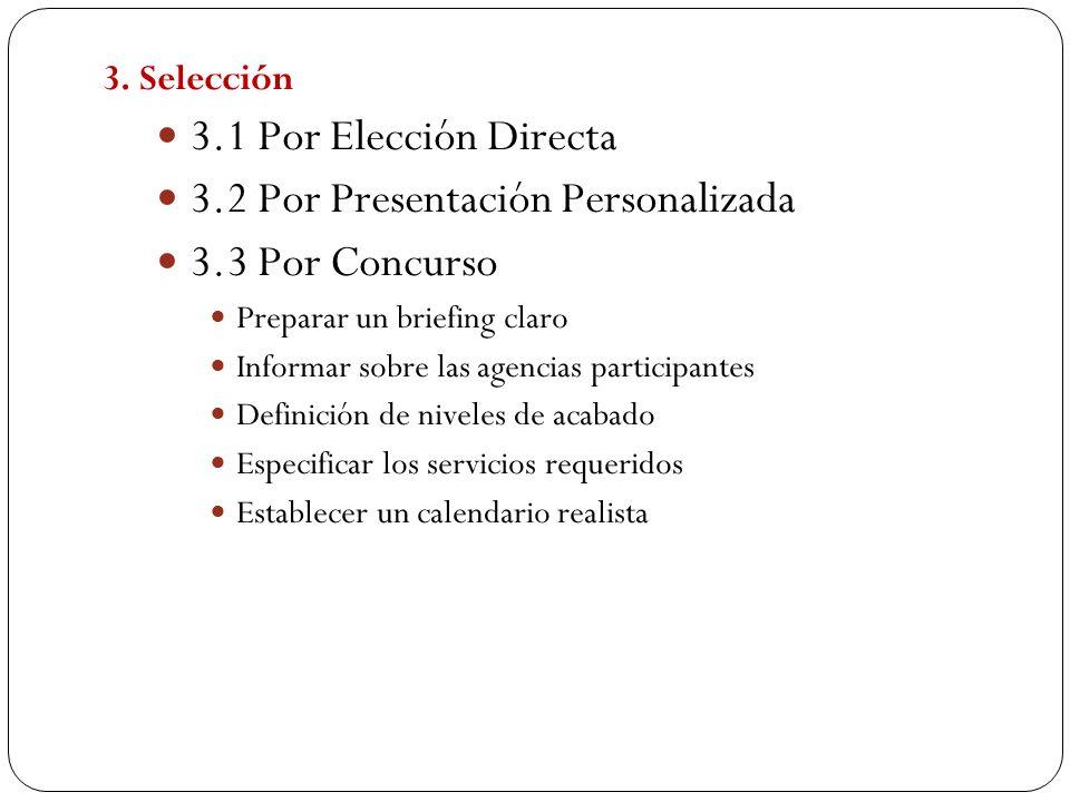 3. Selección 3.1 Por Elección Directa 3.2 Por Presentación Personalizada 3.3 Por Concurso Preparar un briefing claro Informar sobre las agencias parti