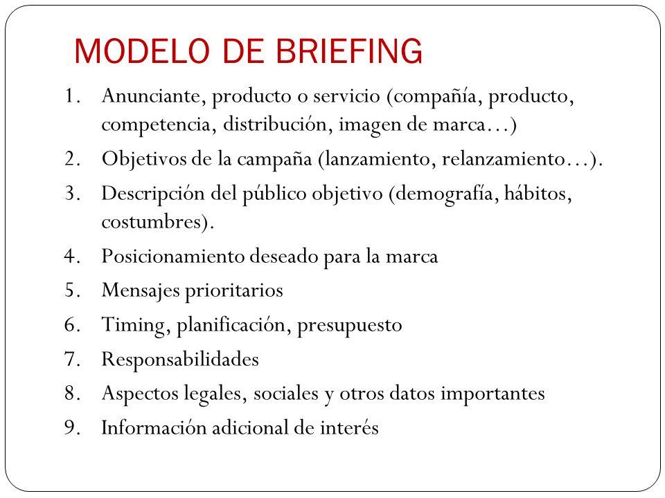 MODELO DE BRIEFING 1.Anunciante, producto o servicio (compañía, producto, competencia, distribución, imagen de marca…) 2.Objetivos de la campaña (lanz