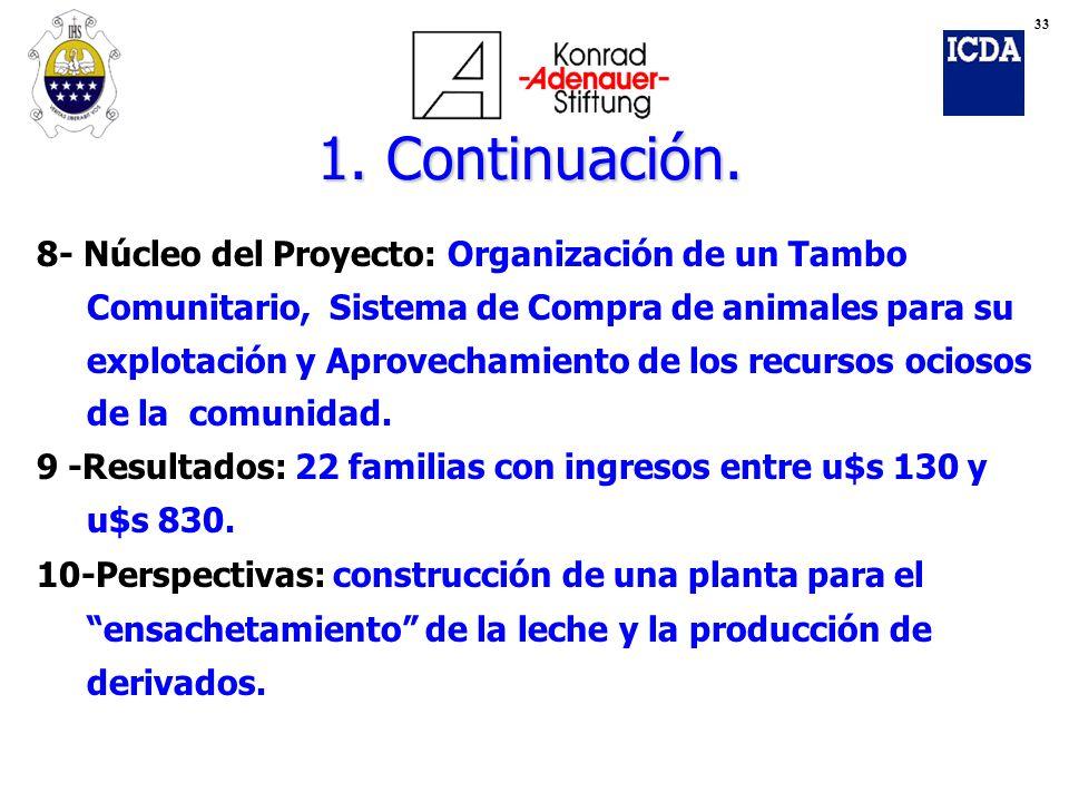 8- Núcleo del Proyecto: Organización de un Tambo Comunitario, Sistema de Compra de animales para su explotación y Aprovechamiento de los recursos ocio