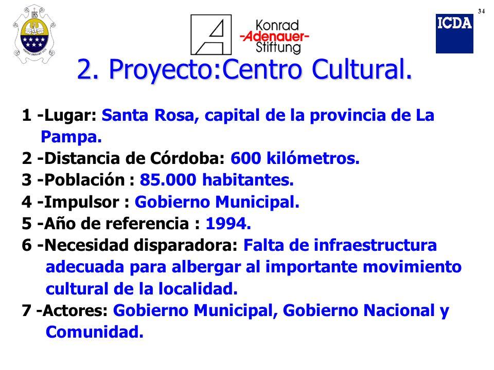 2. Proyecto:Centro Cultural. 1 -Lugar: Santa Rosa, capital de la provincia de La Pampa. 2 -Distancia de Córdoba: 600 kilómetros. 3 -Población : 85.000