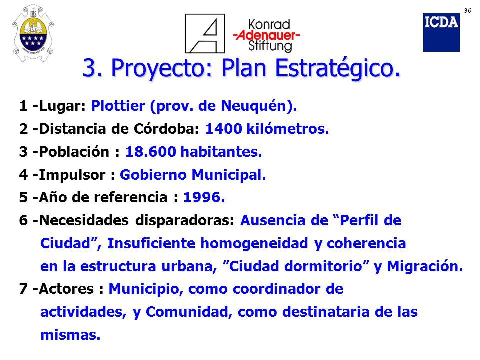 1 -Lugar: Plottier (prov. de Neuquén). 2 -Distancia de Córdoba: 1400 kilómetros. 3 -Población : 18.600 habitantes. 4 -Impulsor : Gobierno Municipal. 5