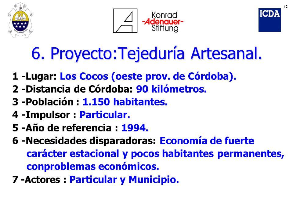 6. Proyecto:Tejeduría Artesanal. 1 -Lugar: Los Cocos (oeste prov. de Córdoba). 2 -Distancia de Córdoba: 90 kilómetros. 3 -Población : 1.150 habitantes