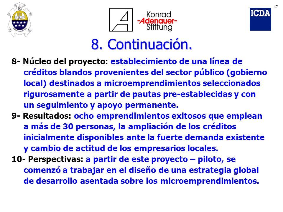 8. Continuación. 8- Núcleo del proyecto: establecimiento de una línea de créditos blandos provenientes del sector público (gobierno local) destinados
