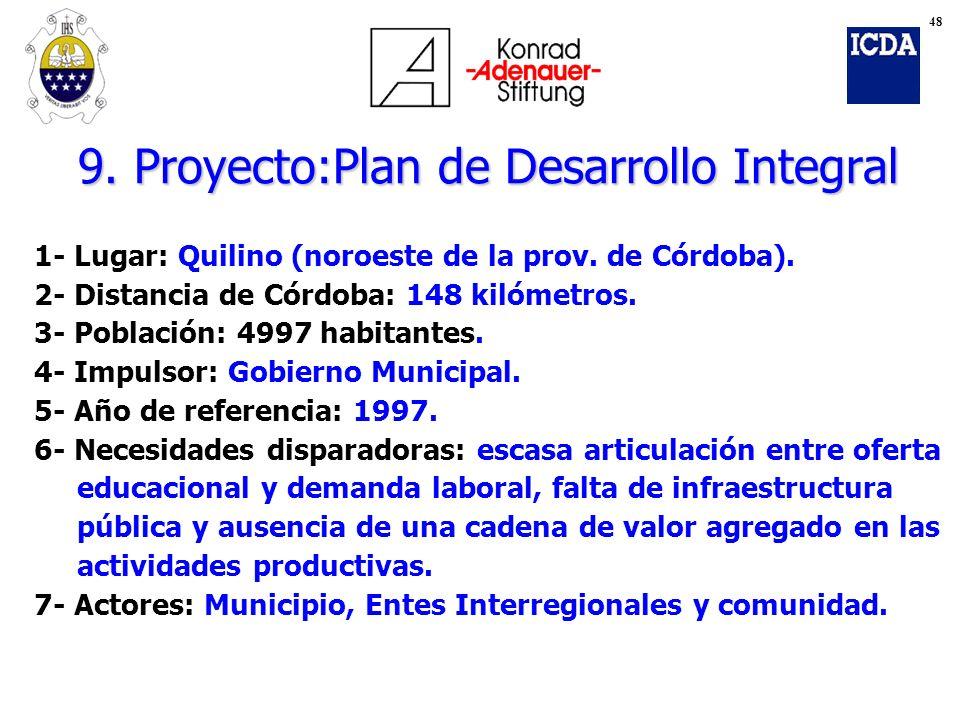 9. Proyecto:Plan de Desarrollo Integral 1- Lugar: Quilino (noroeste de la prov. de Córdoba). 2- Distancia de Córdoba: 148 kilómetros. 3- Población: 49