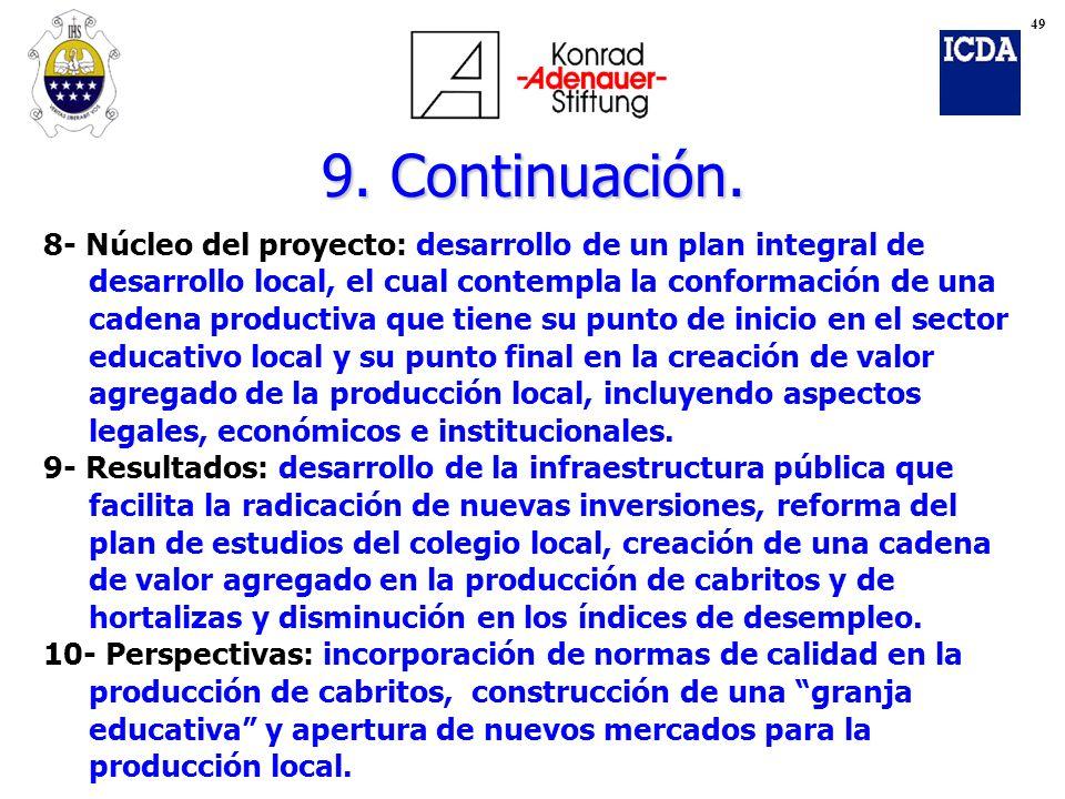 9. Continuación. 8- Núcleo del proyecto: desarrollo de un plan integral de desarrollo local, el cual contempla la conformación de una cadena productiv