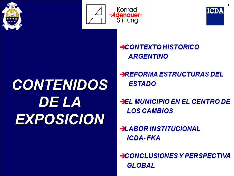 CONTENIDOS DE LA EXPOSICION è CONTEXTO HISTORICO ARGENTINO ARGENTINO è REFORMA ESTRUCTURAS DEL ESTADO ESTADO è EL MUNICIPIO EN EL CENTRO DE LOS CAMBIO