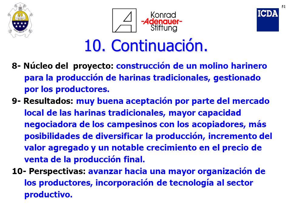 10. Continuación. 8- Núcleo del proyecto: construcción de un molino harinero para la producción de harinas tradicionales, gestionado por los productor