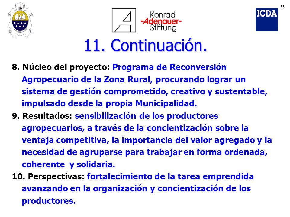 11. Continuación. 8. Núcleo del proyecto: Programa de Reconversión Agropecuario de la Zona Rural, procurando lograr un sistema de gestión comprometido