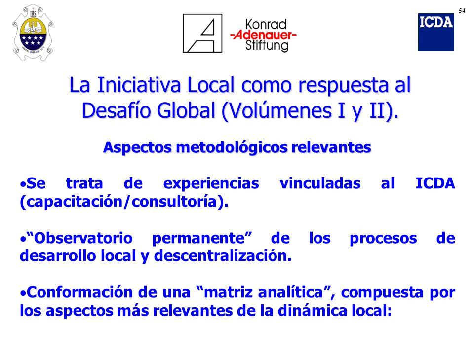 La Iniciativa Local como respuesta al Desafío Global (Volúmenes I y II). Aspectos metodológicos relevantes Se trata de experiencias vinculadas al ICDA