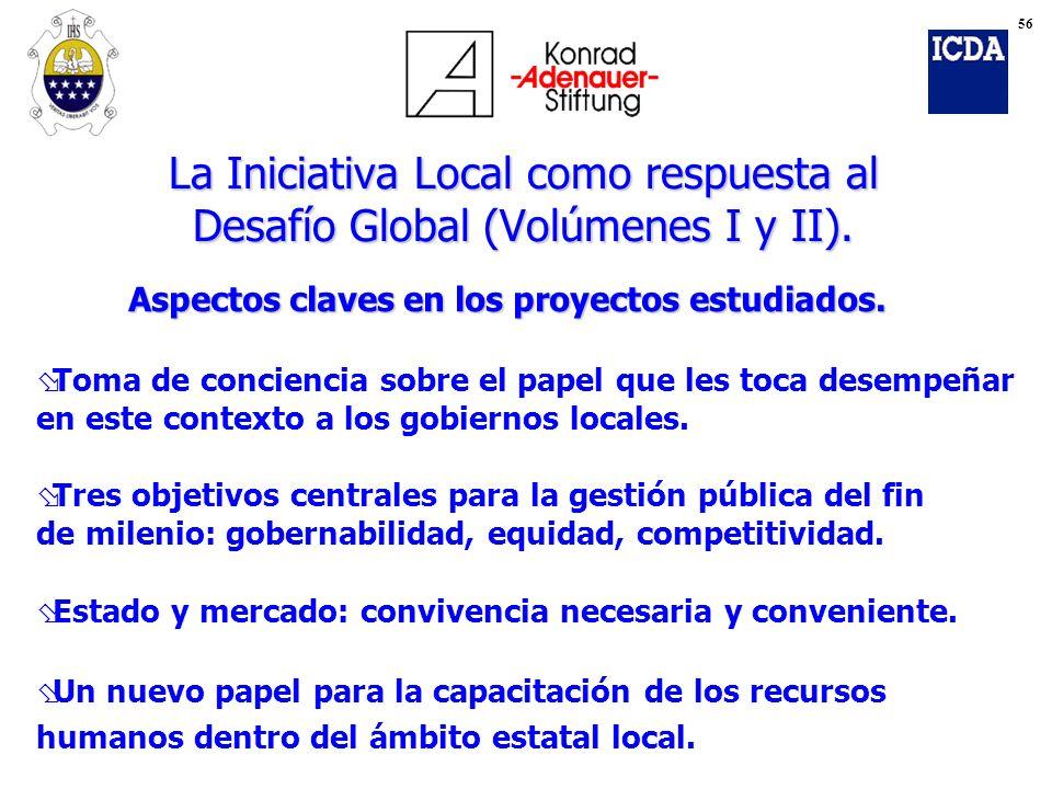Aspectos claves en los proyectos estudiados. øToma de conciencia sobre el papel que les toca desempeñar en este contexto a los gobiernos locales. øTre