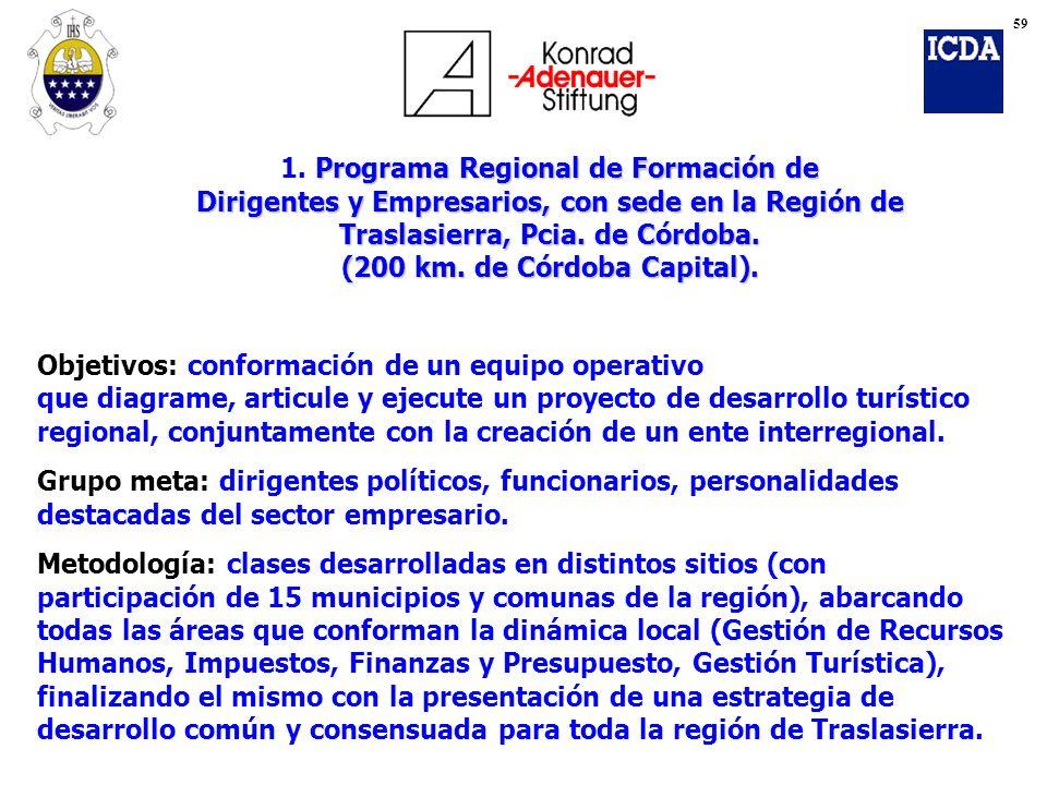 Objetivos: conformación de un equipo operativo que diagrame, articule y ejecute un proyecto de desarrollo turístico regional, conjuntamente con la cre