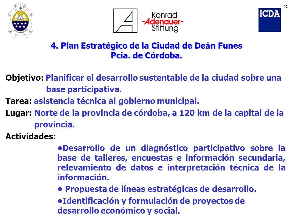 4. Plan Estratégico de la Ciudad de Deán Funes Pcia. de Córdoba. Objetivo: Planificar el desarrollo sustentable de la ciudad sobre una base participat