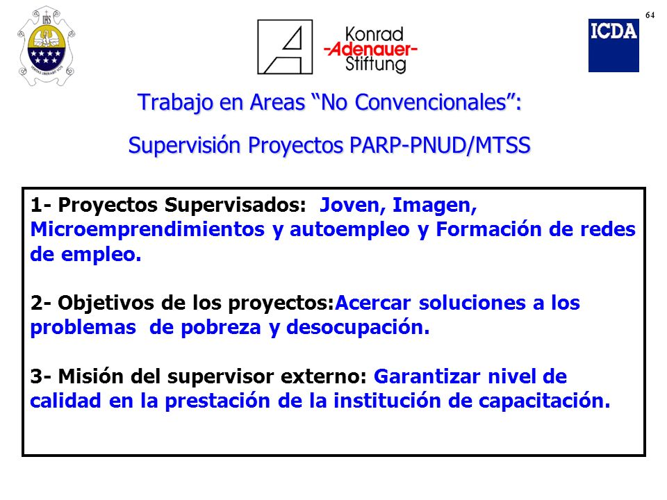 Trabajo en Areas No Convencionales: Supervisión Proyectos PARP-PNUD/MTSS 1- Proyectos Supervisados: Joven, Imagen, Microemprendimientos y autoempleo y