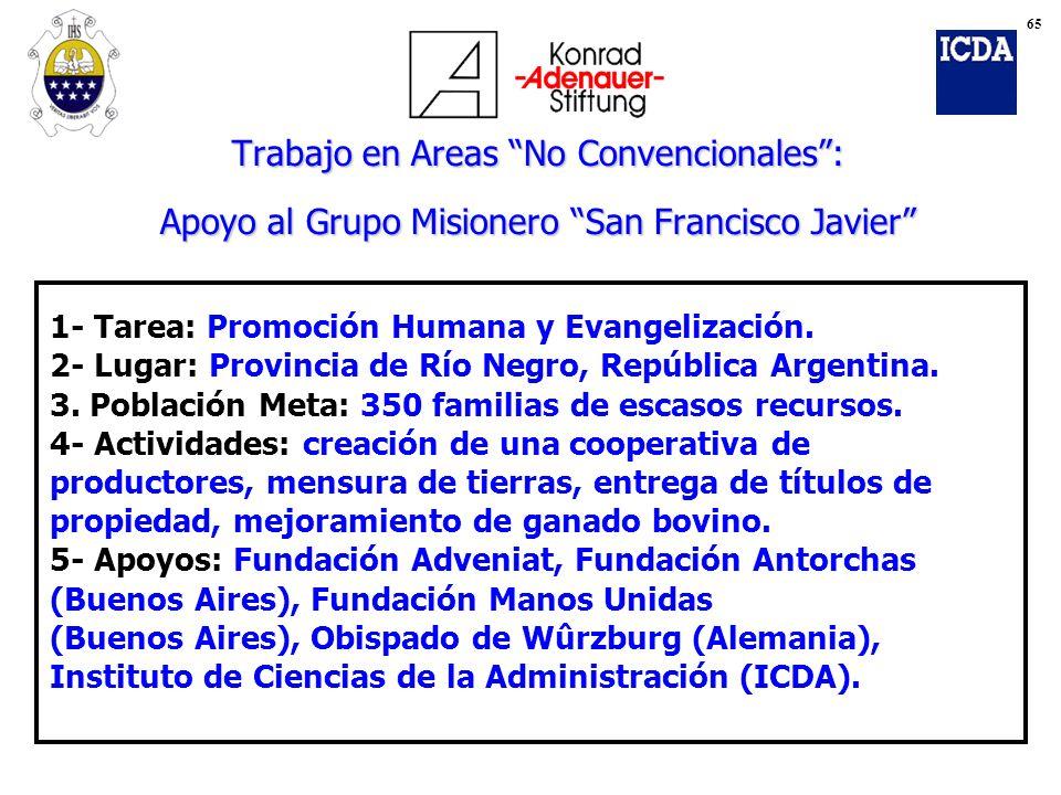 Trabajo en Areas No Convencionales: Apoyo al Grupo Misionero San Francisco Javier 1- Tarea: Promoción Humana y Evangelización. 2- Lugar: Provincia de