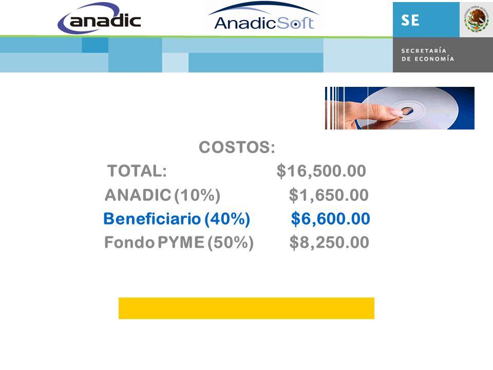 COSTOS: TOTAL: $16,500.00 ANADIC (10%) $1,650.00 Beneficiario (40%) $6,600.00 Fondo PYME (50%) $8,250.00