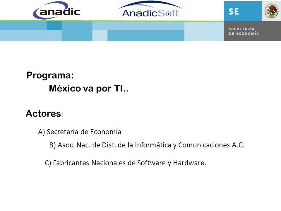 México va por TI.. Programa: Actores : A) Secretaría de Economía B) Asoc.