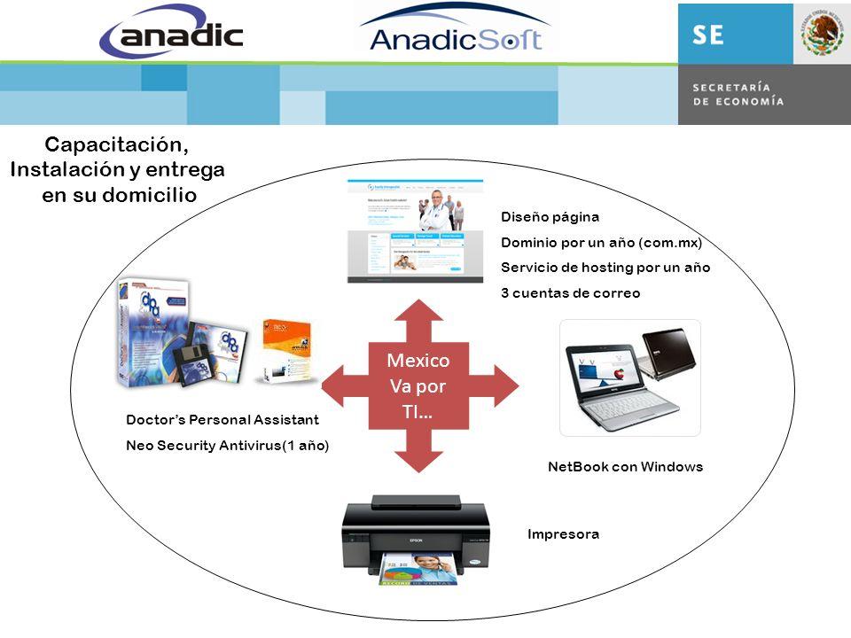 Doctors Personal Assistant Neo Security Antivirus(1 año) Diseño página Dominio por un año (com.mx) Servicio de hosting por un año 3 cuentas de correo Mexico Va por TI… NetBook con Windows Impresora Capacitación, Instalación y entrega en su domicilio
