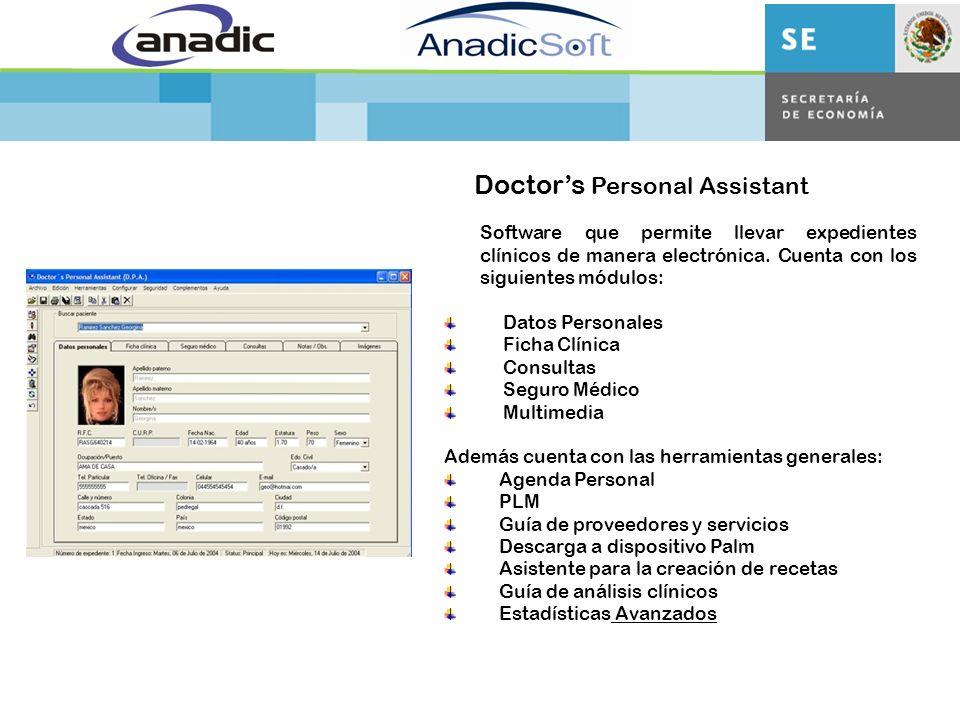 Doctors Personal Assistant Software que permite llevar expedientes clínicos de manera electrónica.