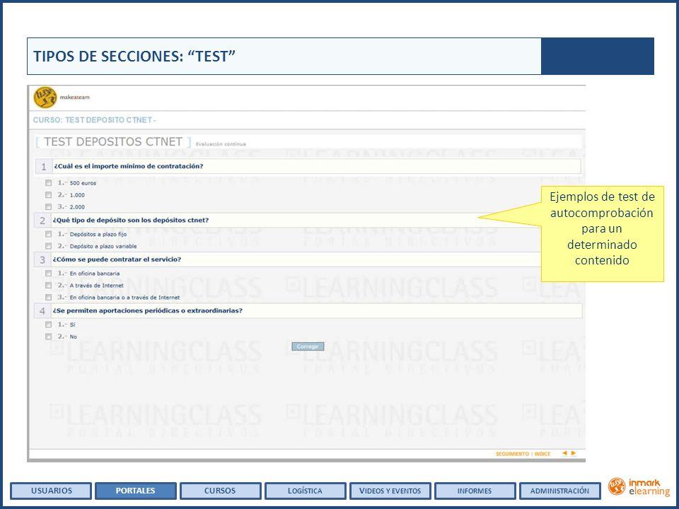 Ejemplos de test de autocomprobación para un determinado contenido TIPOS DE SECCIONES: TEST USUARIOSPORTALESCURSOSL OGÍSTICA V IDEOS Y EVENTOSINFORMES