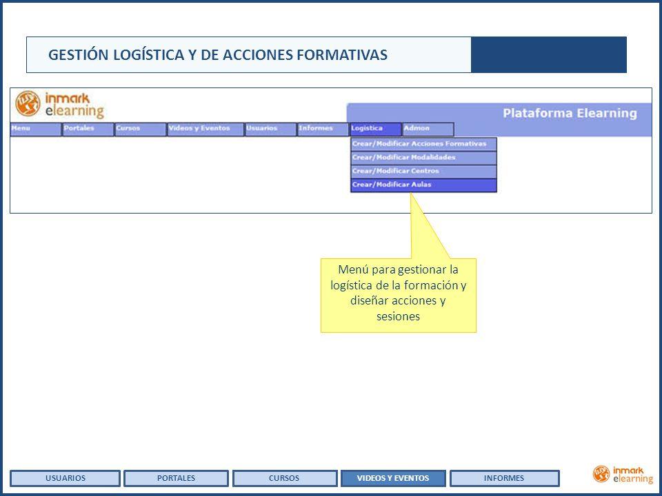 GESTIÓN LOGÍSTICA Y DE ACCIONES FORMATIVAS USUARIOSVIDEOS Y EVENTOSINFORMESPORTALESCURSOS Menú para gestionar la logística de la formación y diseñar acciones y sesiones