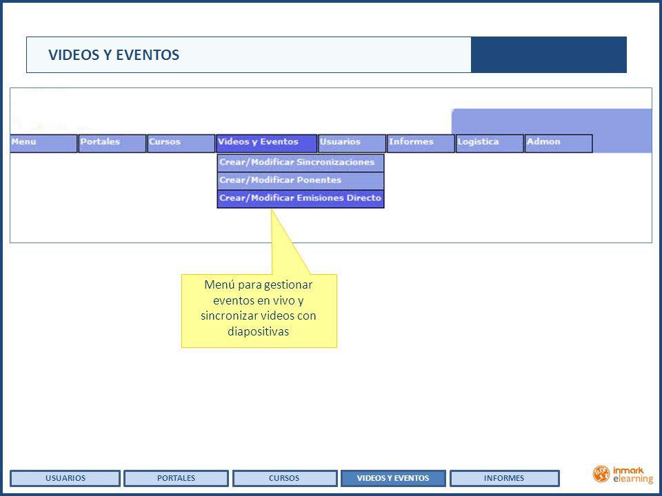 USUARIOSVIDEOS Y EVENTOSINFORMESPORTALESCURSOS Menú para gestionar eventos en vivo y sincronizar videos con diapositivas