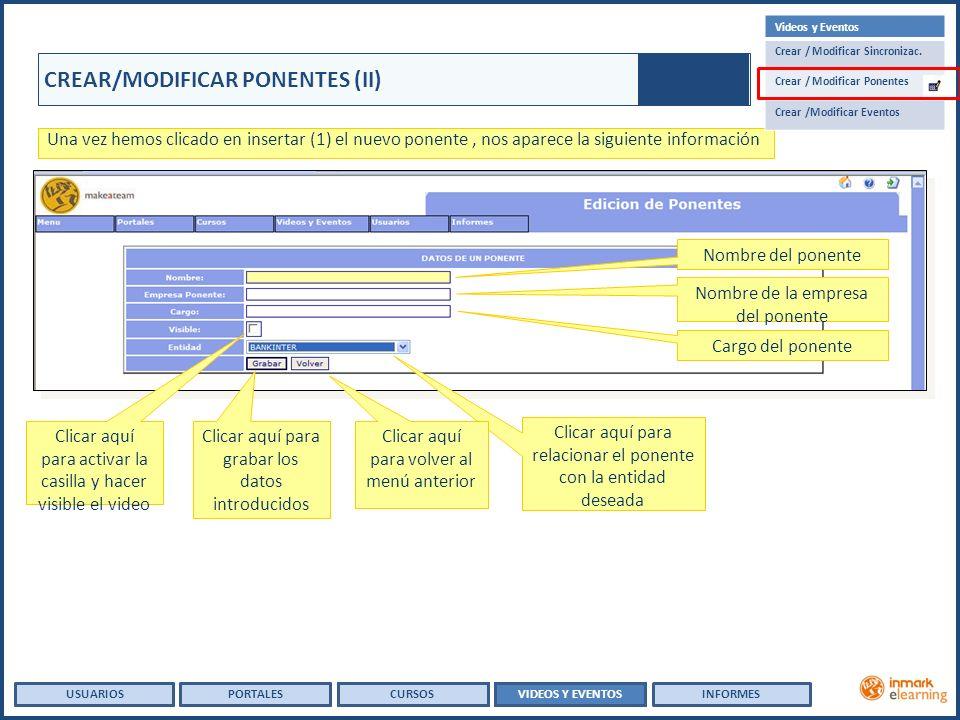 USUARIOSVIDEOS Y EVENTOSINFORMESPORTALESCURSOS USUARIOSPORTALES CREAR/MODIFICAR PONENTES (II) Una vez hemos clicado en insertar (1) el nuevo ponente, nos aparece la siguiente información Clicar aquí para activar la casilla y hacer visible el video Clicar aquí para relacionar el ponente con la entidad deseada Nombre del ponente Nombre de la empresa del ponente Clicar aquí para grabar los datos introducidos Clicar aquí para volver al menú anterior Cargo del ponente Videos y Eventos Crear / Modificar Sincronizac.