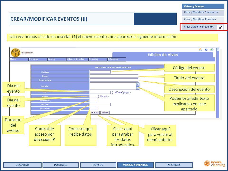 USUARIOSVIDEOS Y EVENTOSINFORMESPORTALESCURSOS USUARIOSPORTALES CREAR/MODIFICAR EVENTOS (II) Una vez hemos clicado en insertar (1) el nuevo evento, nos aparece la siguiente información: Código del evento Título del evento Descripción del evento Podemos añadir texto explicativo en este apartado Clicar aquí para volver al menú anterior Día del evento Duración del evento Conector que recibe datos Control de acceso por dirección IP Clicar aquí para grabar los datos introducidos Videos y Eventos Crear / Modificar Sincronizac.
