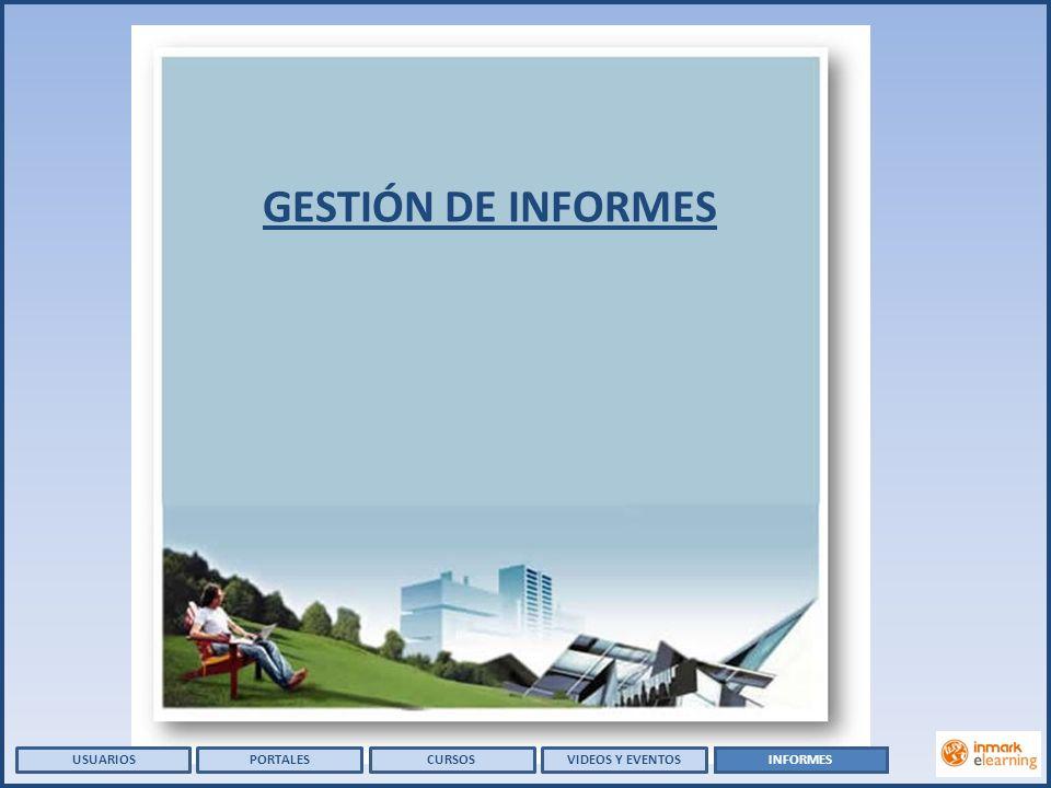 CURSOSVIDEOS Y EVENTOSPORTALES GESTIÓN DE INFORMES USUARIOSINFORMES