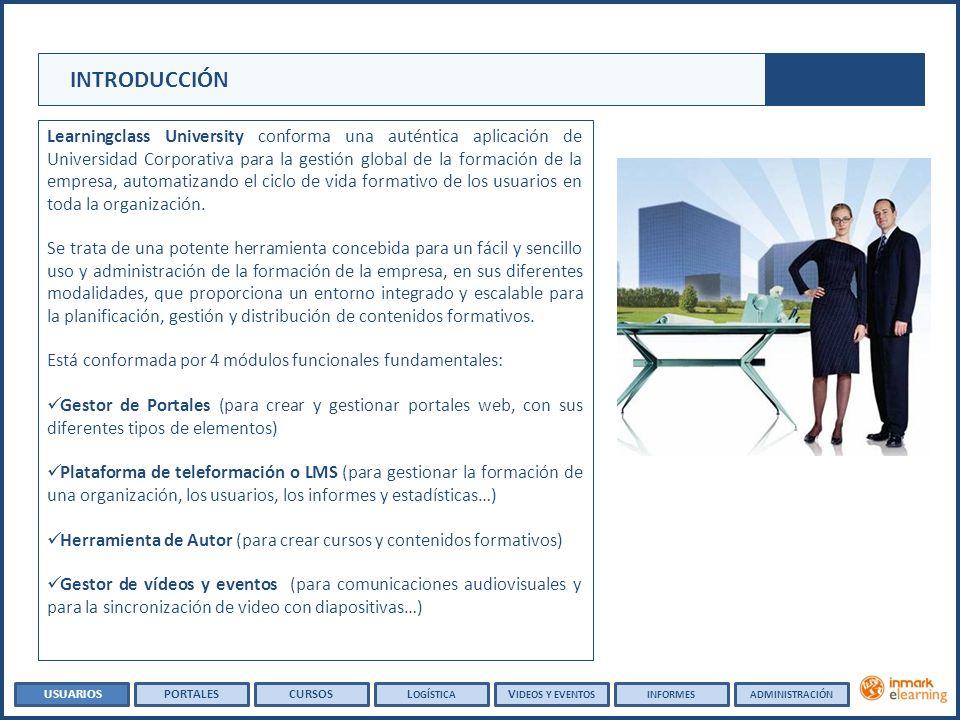 INTRODUCCIÓN Learningclass University conforma una auténtica aplicación de Universidad Corporativa para la gestión global de la formación de la empresa, automatizando el ciclo de vida formativo de los usuarios en toda la organización.