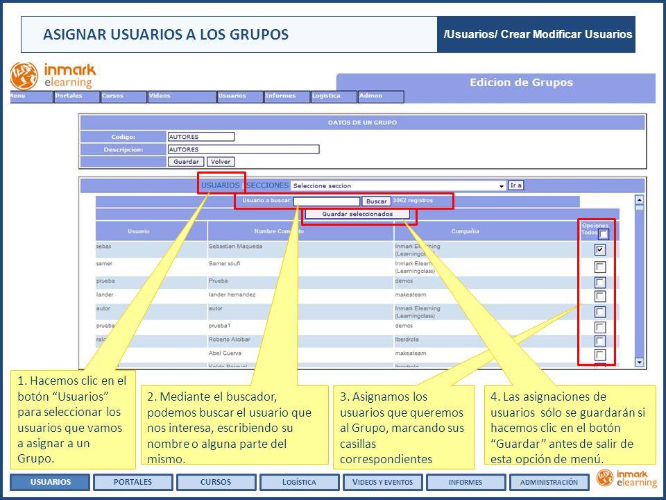 ASIGNAR USUARIOS A LOS GRUPOS /Usuarios/ Crear Modificar Usuarios 3. Asignamos los usuarios que queremos al Grupo, marcando sus casillas correspondien