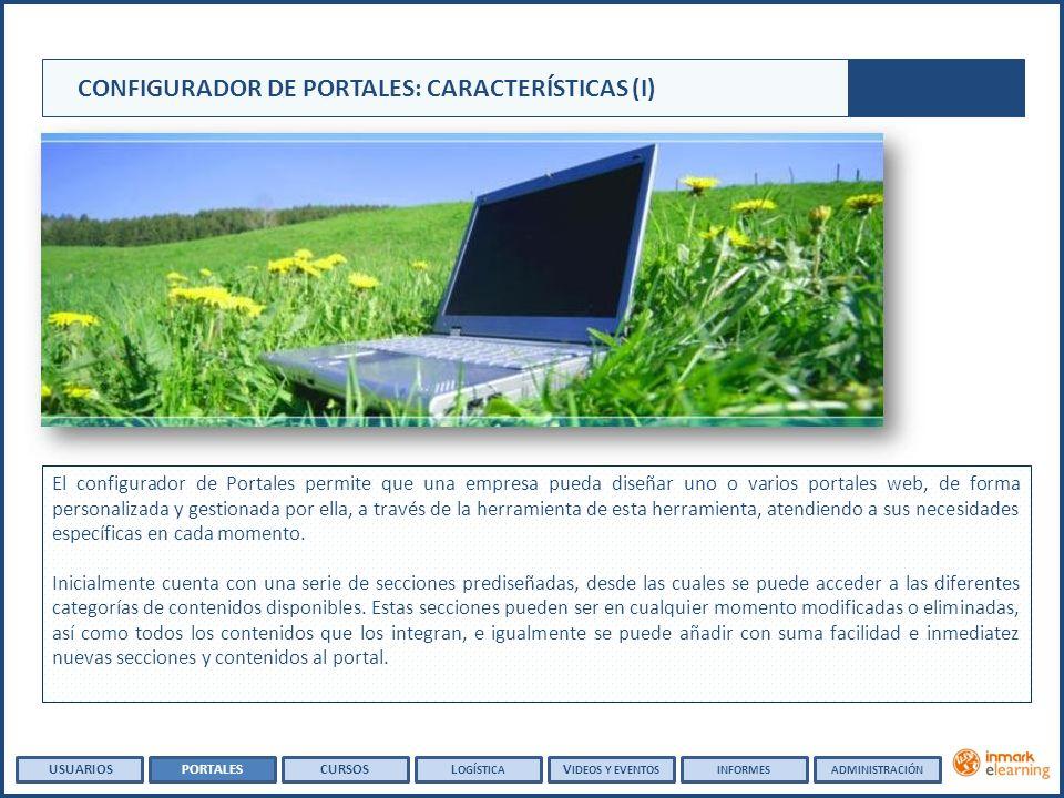 CONFIGURADOR DE PORTALES: CARACTERÍSTICAS (I) El configurador de Portales permite que una empresa pueda diseñar uno o varios portales web, de forma pe