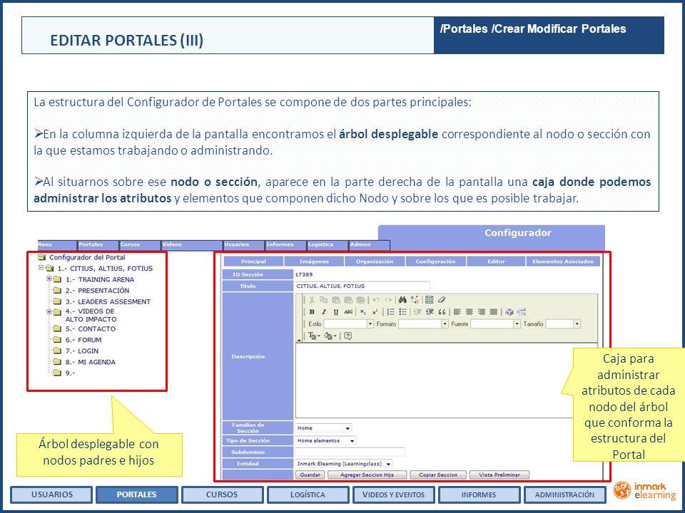 La estructura del Configurador de Portales se compone de dos partes principales: En la columna izquierda de la pantalla encontramos el árbol desplegable correspondiente al nodo o sección con la que estamos trabajando o administrando.