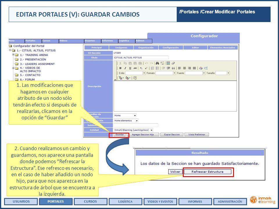 EDITAR PORTALES (V): GUARDAR CAMBIOS USUARIOSPORTALESCURSOSL OGÍSTICA 1. Las modificaciones que hagamos en cualquier atributo de un nodo sólo tendrán