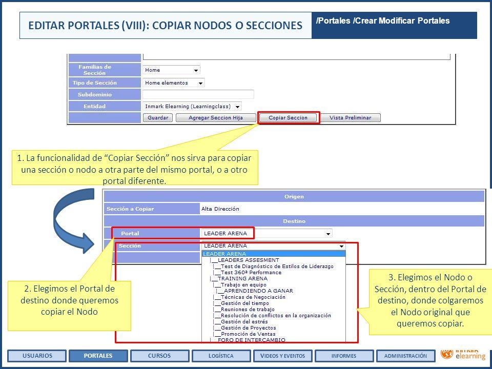 1. La funcionalidad de Copiar Sección nos sirva para copiar una sección o nodo a otra parte del mismo portal, o a otro portal diferente. EDITAR PORTAL