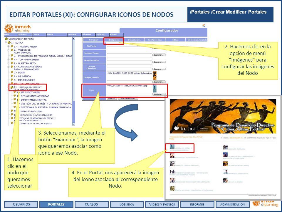 EDITAR PORTALES (XI): CONFIGURAR ICONOS DE NODOS USUARIOSPORTALESCURSOSL OGÍSTICA V IDEOS Y EVENTOSINFORMESADMINISTRACIÓN 4. En el Portal, nos aparece