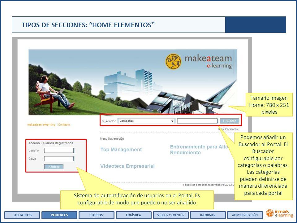 Tamaño imagen Home: 780 x 251 píxeles TIPOS DE SECCIONES: HOME ELEMENTOS Podemos añadir un Buscador al Portal.