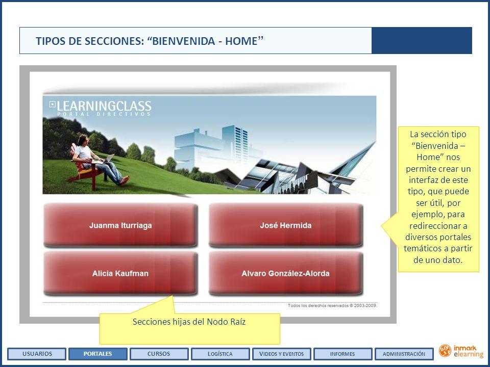 TIPOS DE SECCIONES: BIENVENIDA - HOME La sección tipo Bienvenida – Home nos permite crear un interfaz de este tipo, que puede ser útil, por ejemplo, p