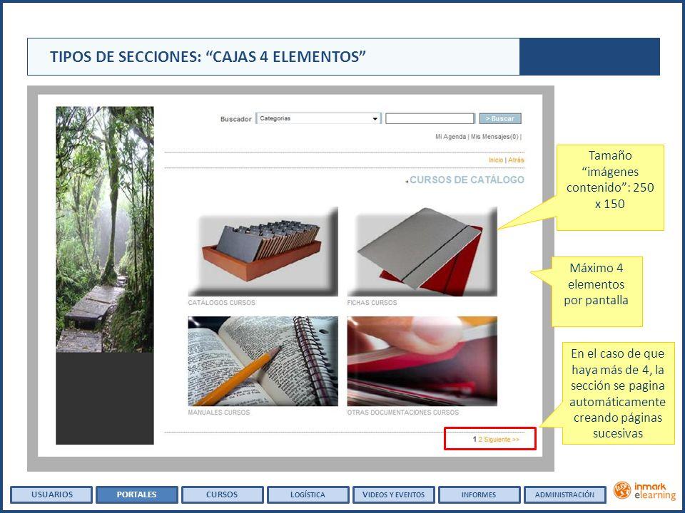 Tamaño imágenes contenido: 250 x 150 Máximo 4 elementos por pantalla TIPOS DE SECCIONES: CAJAS 4 ELEMENTOS En el caso de que haya más de 4, la sección se pagina automáticamente creando páginas sucesivas USUARIOSPORTALESCURSOSL OGÍSTICA V IDEOS Y EVENTOSINFORMESADMINISTRACIÓN