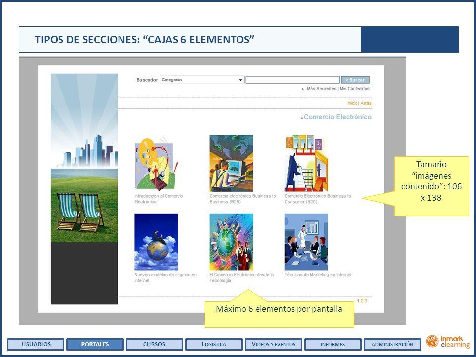 Tamaño imágenes contenido: 106 x 138 Máximo 6 elementos por pantalla TIPOS DE SECCIONES: CAJAS 6 ELEMENTOS USUARIOSPORTALESCURSOSL OGÍSTICA V IDEOS Y