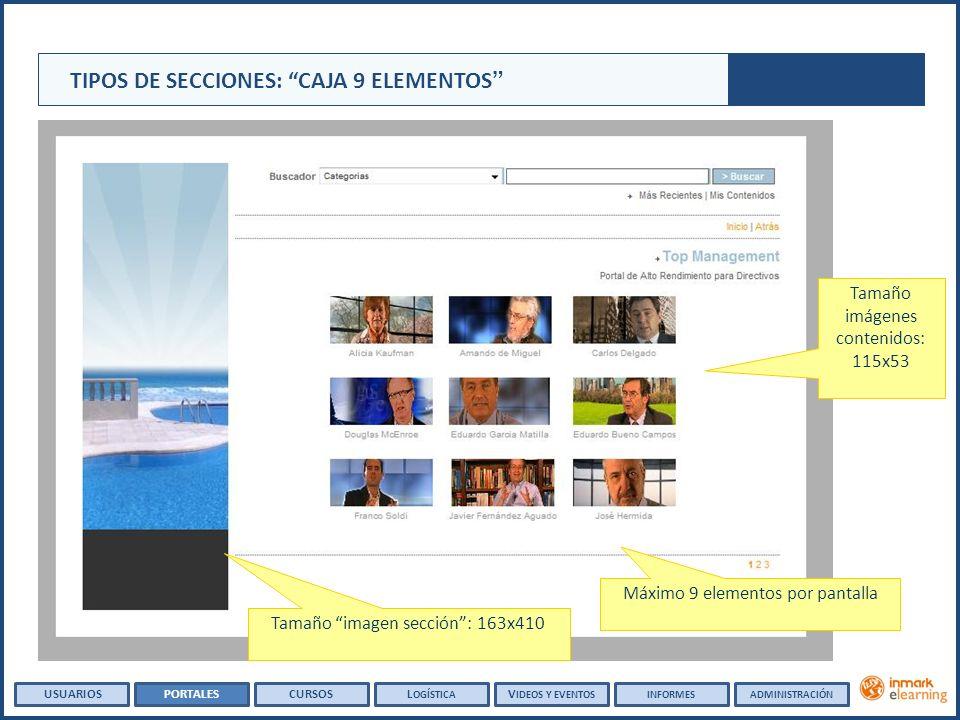 Tamaño imágenes contenidos: 115x53 Tamaño imagen sección: 163x410 Máximo 9 elementos por pantalla TIPOS DE SECCIONES: CAJA 9 ELEMENTOS USUARIOSPORTALESCURSOSL OGÍSTICA V IDEOS Y EVENTOSINFORMESADMINISTRACIÓN