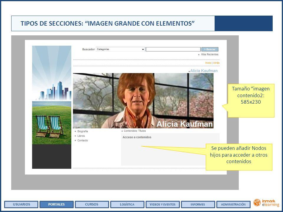 Tamaño imagen contenido2: 585x230 Se pueden añadir Nodos hijos para acceder a otros contenidos TIPOS DE SECCIONES: IMAGEN GRANDE CON ELEMENTOS USUARIOSPORTALESCURSOSL OGÍSTICA V IDEOS Y EVENTOSINFORMESADMINISTRACIÓN